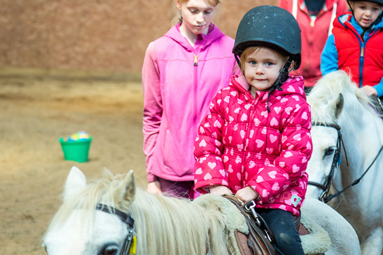 Young girl in pink riding a white pony